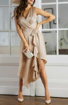 Sommer Khaki ärmelloses gewickeltes unregelmäßiges elegantes langes Kleid