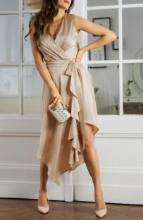 Vestido largo elegante irregular envuelto sin mangas de color caqui de verano