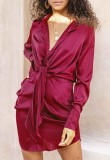 Spring Long Sleeve Knotted Elegant Red Blouse Dress
