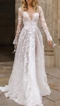 Vestido de noiva verão casamento de renda branca com decote em V manga longa