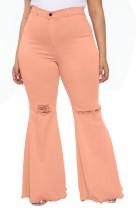 Jeans Flare com cintura alta e cintura alta rosa claro