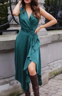 Vestido largo elegante irregular envuelto sin mangas verde de verano