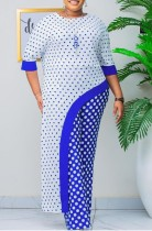 Summer Mother of Bride Polka Blue Top lungo irregolare e pantaloni abbinati in due pezzi