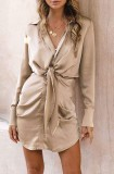 Spring Long Sleeve Knotted Elegant Khaki Blouse Dress