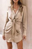 Frühlings-Langarm geknotetes elegantes Khaki-Blusenkleid