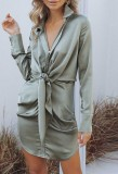 Spring Long Sleeve Knotted Elegant Grey Blouse Dress