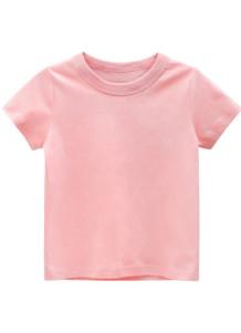T-shirt O-Collo rosa estiva per bambino