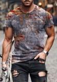 T-shirt O-Collo manica corta con stampa uomo estivo