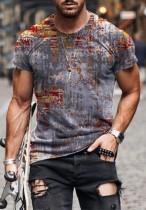 Summer Man Print Short Sleeve O-Neck T Shirt