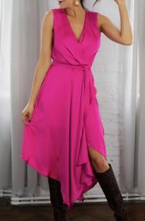 Vestido largo elegante irregular envuelto sin mangas rosa de verano