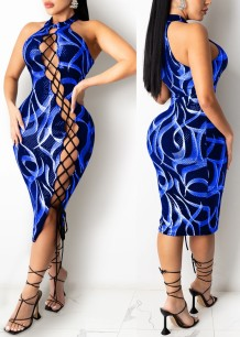 Summer Print Blue Lace-Up Scoop Neck Midi Party Dress