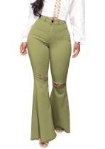 Calças jeans rasgadas com cintura alta verde verão