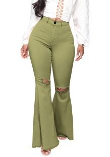 Jeans acampanados rasgados de cintura alta verde de verano