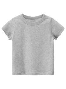 Çocuk Boy Yaz Gri O-Boyun T Shirt