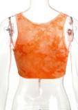 Top corto senza maniche con lacci in catene arancioni tie dye estivo