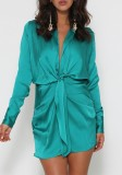 Spring Long Sleeve Knotted Elegant Green Blouse Dress
