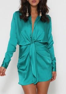 Spring Long Sleeve Knotted Elegant Green Blouse Dress
