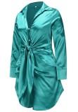 Bahar Uzun Kollu Düğümlü Zarif Yeşil Bluz Elbise