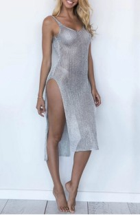 Summer Side Slit Silver Tank Dress Cover-Up