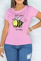 Sommer Print Pink O-Neck Kurzarm T-Shirt