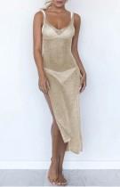 Cobertura de vestido de verão com fenda lateral dourada