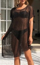 Summer Black Hollow Out Short Sleeve Dress Cover-Up