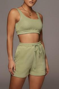 Summer Green Jogging Bra and Shorts 2PC Matching Set
