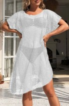 Summer White Hollow Out Short Sleeve Dress Cover-Up