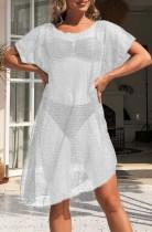 Vestido de manga corta ahuecado blanco de verano encubrimiento