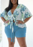 Plus Size Summer Print Blue Short Sleeve Blouse and Shorts Matching Set