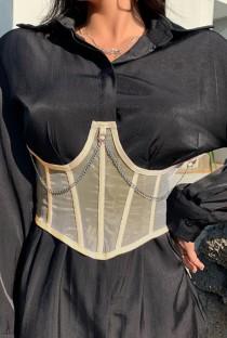 Летний бежевый корсет-бюстье с цепочками под грудью
