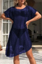 Summer Blue Hollow Out Short Sleeve Dress Cover-Up