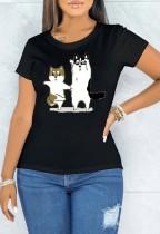 Sommerdruck Schwarzes O-Ausschnitt Kurzarm T-Shirt