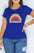 Summer Print Blue O-Neck Short Sleeve T Shirt