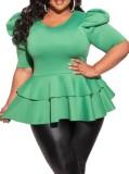 Sommer Plus Size Formale Grün Kurzarm Schößchen Top