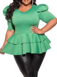 Top peplum de manga curta verde formal tamanho plus size