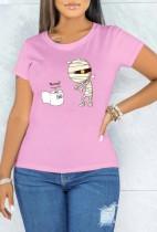 Yaz Baskı Pembe O-Boyun Kısa Kollu T Shirt