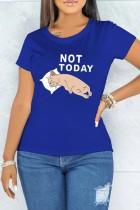 Sommer Print Blue O-Neck Kurzarm T-Shirt