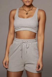 Summer Grey Jogging Bra and Shorts 2PC Matching Set