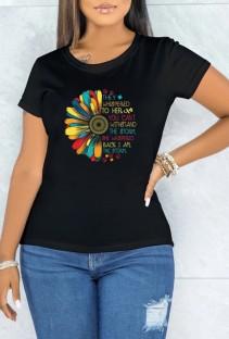 Camiseta de manga corta con cuello en O negro con estampado de verano