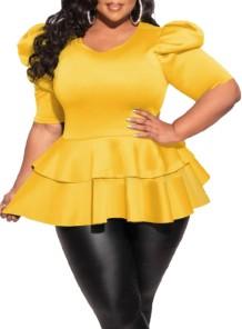 Top peplum de manga curta amarela formal plus size