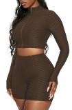 Summer Brown Waffle Long Sleeve Zipped Crop Top and Biker Shorts Matching 2PC Set