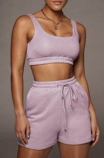 Summer Purple Jogging Bra and Shorts 2PC Matching Set