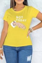 Summer Print Yellow O-Neck Short Sleeve T Shirt
