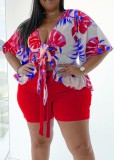 Plus Size Summer Print Red Short Sleeve Blouse and Shorts Matching Set