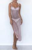Copricostume per abito rosa con spacco laterale estivo