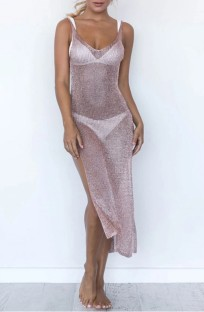 Summer Side Slit Pink Tank Dress Cover-Up