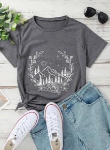 Summer Print Grey Short Sleeve O-Neck T Shirt