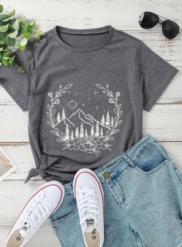Summer Print Grey Short Sleeve O-Neck T Shirt