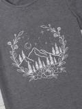 Yaz Baskı Gri Kısa Kollu O-Boyun T Shirt